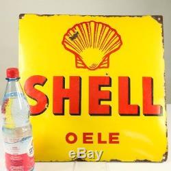 Emailschild Shell Oele Ferro Dold um 1930 Tankstelle Vintage Oil Enamel Sign