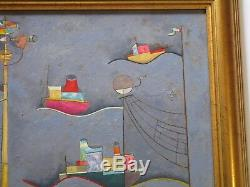 Ferruccio Signed Vintage 1970's Italian Modernism Surreal Painting Abstract