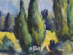 French Oil Painting Landscape Signed Leo Legler Vintage South of France