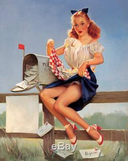 GIL ELVGREN 1940s VINTAGE ORIGINAL PAINTING Pin-Up GETTING POSTED FAN MAIL PinUp