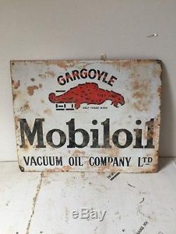 Gargoyle Mobil Oil Standard Vacuum Oil Company Sign Vintage Porcelain Enamel Old