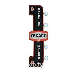 Gas Station Sign LED Texaco Gasoline Motor Oil Vintage Lettering Both Sides