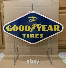 Good Year Tires Rack Display Sign Double Sided Vintage Metal Gas Oil Garage