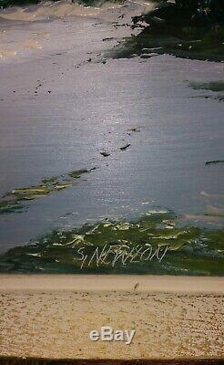 Highwaymen Signed Sam Newton Beach Painting On Board 24 X 18 Portrait Style