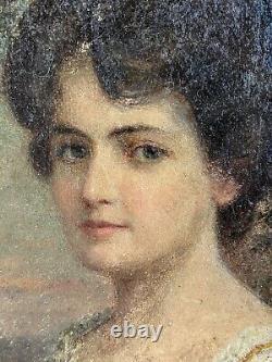 Horace Burdick, 1844-1942, antique vintage oil painting, portrait of Lorna, sign