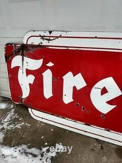 Huge 12' Vintage Original 1956 FIRESTONE TIRES Porcelain Dealership Sign gas oil