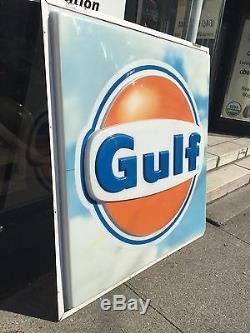 Huge Gulf Gas Service Station 6' x 6' Sign Oil Large Garage 6x6 VTG Advertising