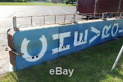 Huge Vintage 1950's Chevrolet 2 Sided 25' Neon Porcelain Metal Gas Oil Sign