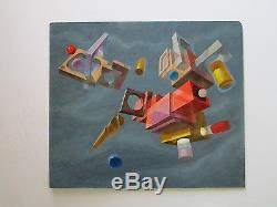 Impressive Abstract Painting Surrealism Signed Suprematism Geometric Mystery Vtg
