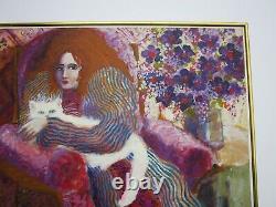 Izquierdo Vintage Pretty Woman Female Portrait Painting Signed Impressionist