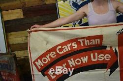 Kendall Gas Oil Station Cloth Banner Dealership Auto Garage Sign VINTAGE