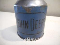 L2074- RARE Vintage JOHN DEERE BLUE OIL CAN Tractor Farm Advertising Sign