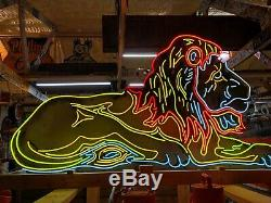LARGE 6' Vintage LION Double Sided NEON SIGN Antique PATINA Circus Zoo Gas Oil