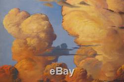 LARGE Vintage 2015 signed Wm HAWKINS Green Blue Marine Clouds Art Oil Painting