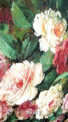 LG Vintage Oil Painting-Still Life Floral/Roses-Listed Artist-Antique Frame