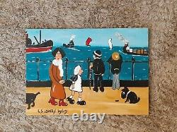 L S Lowry. Original of a busy Promenade, people, dogs, ships, boats vintage Lowry