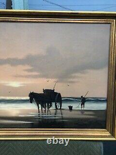 Large Framed Vintage Artist Signed C. Beerman Oil On Canvas Painting