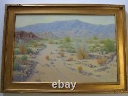 Large Mike Johnson Painting California Landscape 36 Inches Oil Desert Vintage