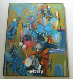 Large Sherman Signed 1970's Abstract Painting Modernism Vintage Expressionism