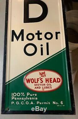 Large VTG Wolf's Head Motor Oil Gas Station 82 Embossed Metal Sign Wood Mounted