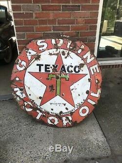 Large Vintage 1930's Texaco Gasoline Motor Oil Porcelain Metal Sign