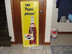 Large Vintage 1950's Pepsi Cola Soda Pop Gas Oil 47 Embossed Metal Sign