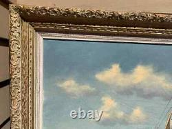 Large Vintage Framed Oil painting on Canvas, Sailing ship in the ocean, Signed