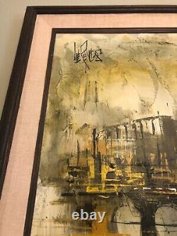 Large Vintage Lee Reynolds Abstract Oil Painting Cityscape Mid Century Modern
