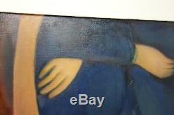 Large Vintage Mid Century Modern Art Portrait Oil Painting Signed Leslie Snow