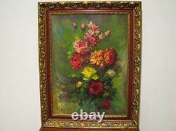 Large Vintage Oil On Canvas Painting Of Roses Signed
