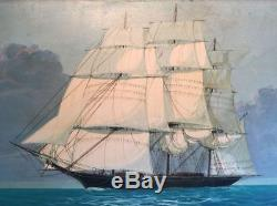 Large Vintage Schooner Sailing Ship Oil Painting. Signed A. COPPELLE Masterful