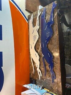 Large Vintage''greyhound'' Gas & Oil Porcelain 36x8 Inch Dealer Sign Used
