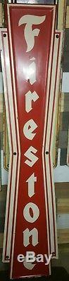 Large vintage Firestone Tire sign vertical station oil 72 embossed metal