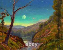 MAX COLE ART oil painting landscape vintage impressionist old american moon 0089