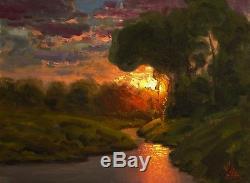 MAX COLE original oil painting landscape signed antique vintage sunset art 2079