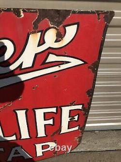 MILLER HIGH LIFE Beer Vintage Original Porcelain Sign Gas Oil Soda RARE