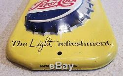 MINTY! Vintage PEPSI COLA Thermometer Sign, soda tin advertising oil gas station