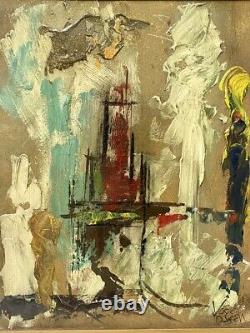 MYSTERY ARTIST Signed Vintage Mid Century Abstract Cityscape American Oil