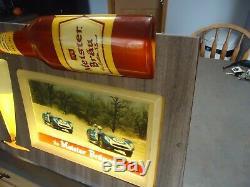 Meister Brau beer Motion light vtg sign race cars bottle advertising gas oil