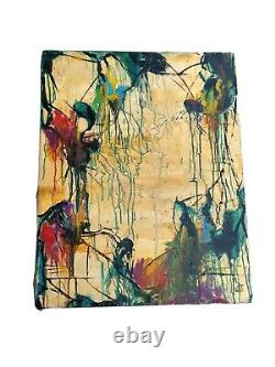 Mid Century Modern MCM Retro Vintage Abstract SIGNED AUTHENTIC Oil PAINTING