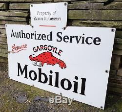 Mobil Gargoyle Porcelain Bottle Rack Sign 1920's Original Antique Vtg Gas/Oil