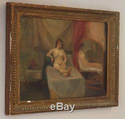 Modern British Oil Painting Vintage Portrait of Nude Woman. Signed Anne Rose