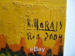 Morais, Vintage MID Century Modern Surreal Landscape Beach Coastal Oil Signed