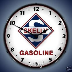 New Skelly Gas Oil Vintage Style Backlit Lighted Retro Clock Free Shipping