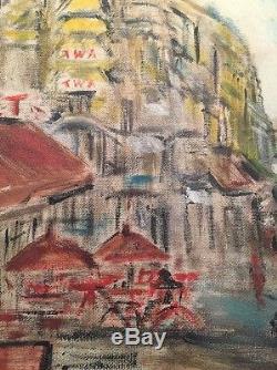 Nice framed vintage 1957 Mid Century Modern Parisian Scene Oil painting Signed
