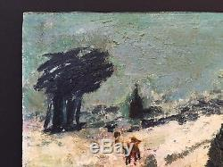 Northern School Art Oil On Board 1940's Antique Vintage Painting Signed
