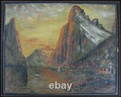 Norway Vintage Old 1934 Scandinavian W. H. Elford Fjord Village Oil Painting