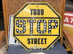 ORIGINAL Restored Vintage GLASS Reflector STOP THRU STREET Sign Gas Oil Car Road