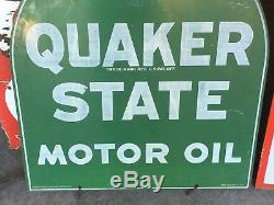 ORIGINAL VinTaGe QUAKER STATE OIL Tombstone Sign Old Gas Station Wall Decor ArT
