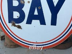 ORIGINAL Vintage 6' BAY Sign PORCELAIN Gas Oil Station RARE Display ManCave OLD